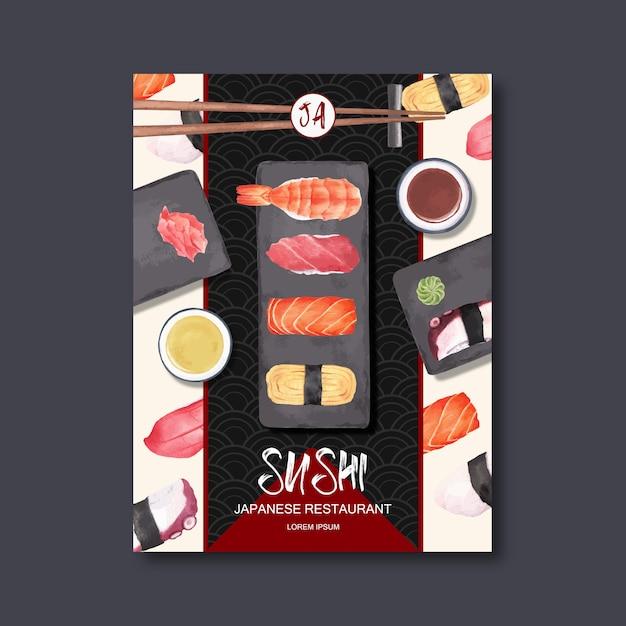 Affiche pour la publicité du restaurant de sushi. Vecteur gratuit