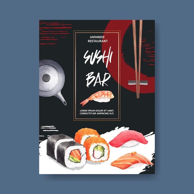 Affiche pour le restaurant sushi Vecteur gratuit