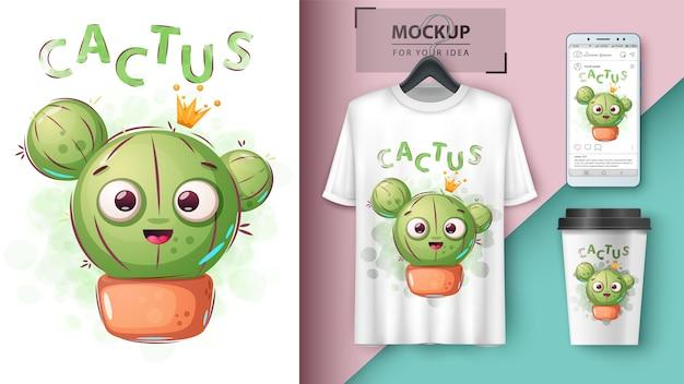 Affiche de princesse de cactus et merchandising Vecteur Premium