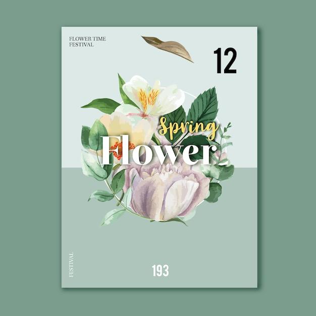 Affiche printanière fleurs fraîches Vecteur gratuit