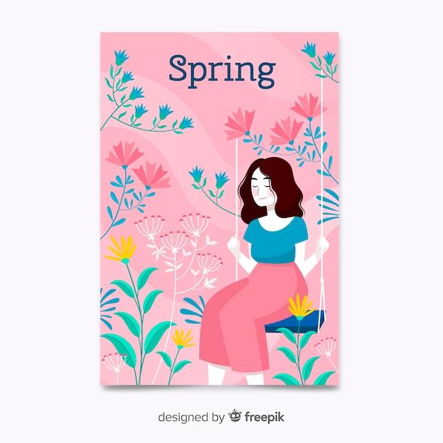 Affiche de printemps rose dessiné à la main Vecteur gratuit