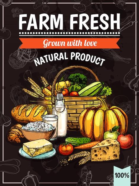 Affiche de produits de la ferme Vecteur gratuit