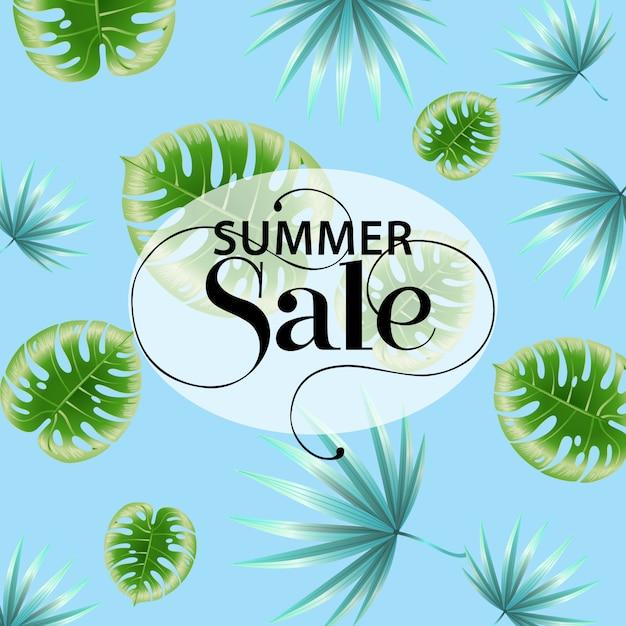 Affiche promo bleu vente d'été avec motif de feuilles tropicales. Vecteur gratuit