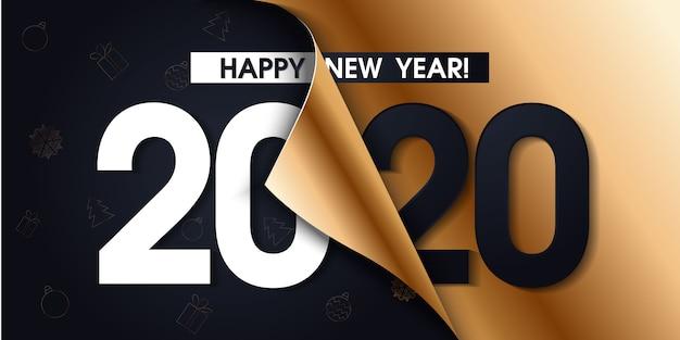 Affiche de promotion de la bonne année 2020 ou bannière Vecteur Premium