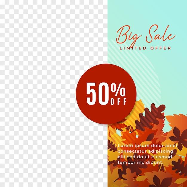 Affiche de promotion des médias sociaux automne grande vente. bannière minimaliste moderne avec illustration de feuilles d'automne. Vecteur Premium