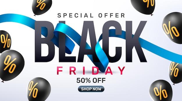 Affiche De Promotion De Vente Du Vendredi Noir Ou Bannière Avec Ballons Vecteur Premium