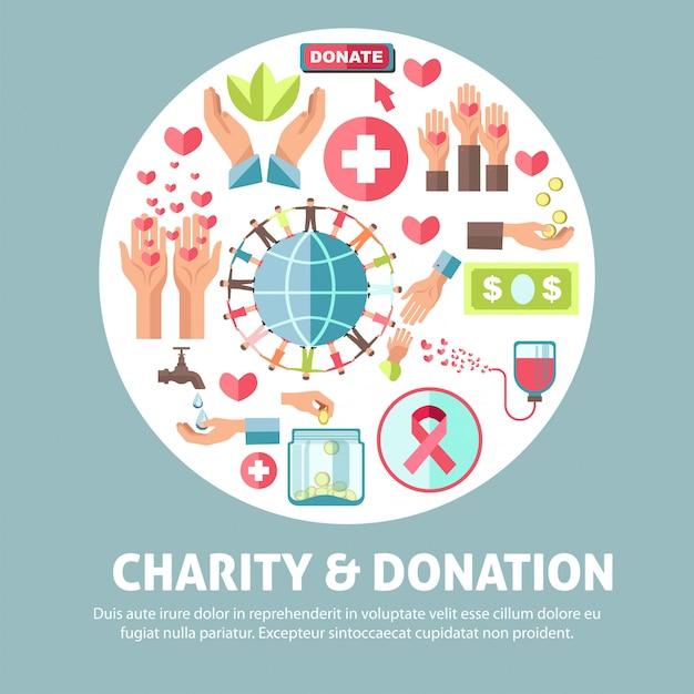 Affiche promotionnelle agitative de charité et de donation avec des illustrations symboliques Vecteur Premium