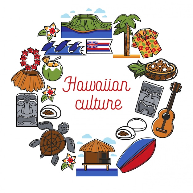 Affiche promotionnelle de culture hawaïenne avec symboles de pays traditionnels Vecteur Premium