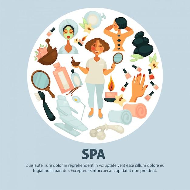 Affiche promotionnelle sur les procédures de spa avec esthéticienne et clients Vecteur Premium