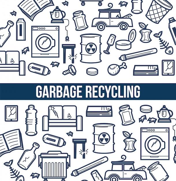 Affiche promotionnelle de recyclage des ordures avec jeu d'illustrations de croquis Vecteur Premium