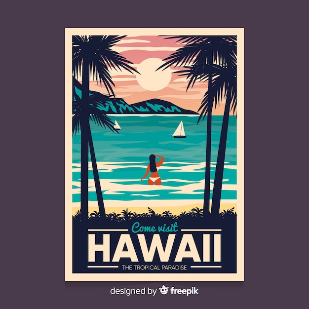 Affiche promotionnelle rétro du modèle d'hawaï Vecteur gratuit