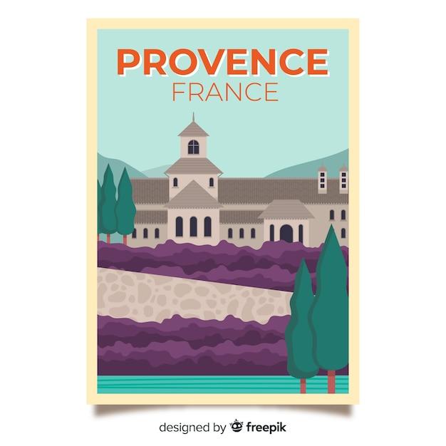Affiche promotionnelle rétro de provence Vecteur gratuit