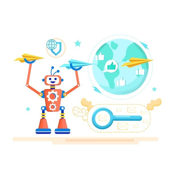 Affiche publicitaire antivirus pour dessin animé mail. Vecteur Premium