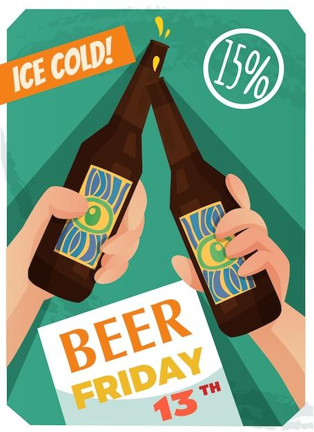 Affiche Publicitaire De Bière Vecteur gratuit