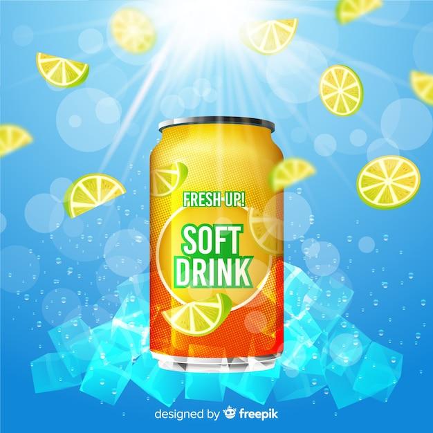 Affiche publicitaire de boisson gazeuse réaliste Vecteur gratuit
