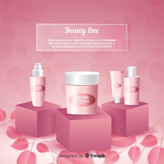 Affiche publicitaire cosmétique naturelle réaliste Vecteur gratuit