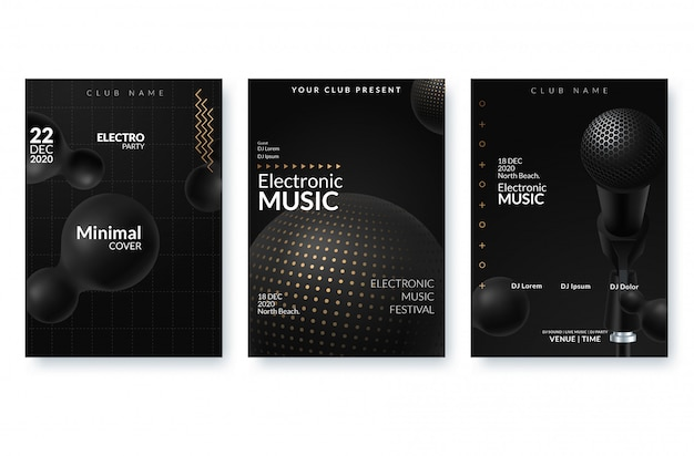 Affiche publicitaire du festival de musique électronique. Vecteur Premium