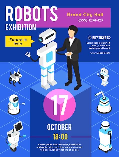 Affiche publicitaire isométrique de l'exposition de robots Vecteur gratuit