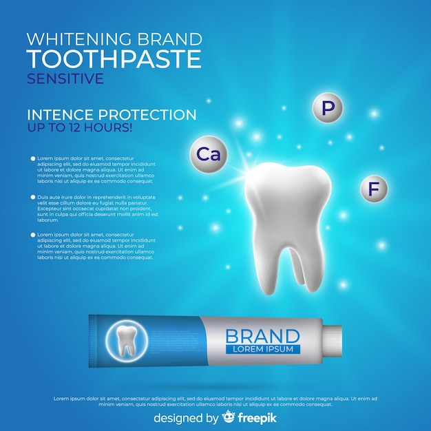 Affiche publicitaire réaliste de dentifrice frais Vecteur gratuit