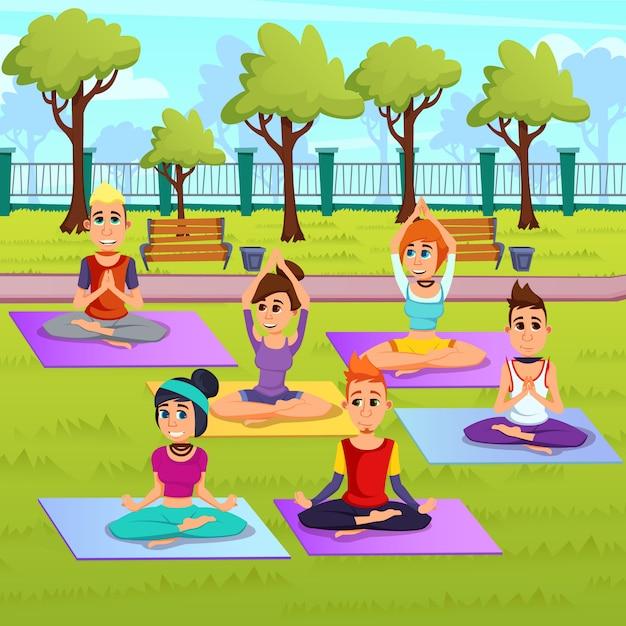 Affiche Publicitaire Relaxation Exercise Cartoon. Vecteur Premium