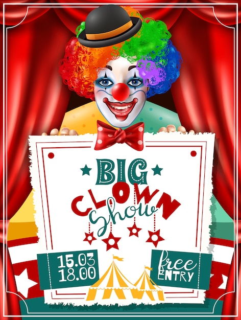 Affiche de publicité d'invitation de spectacle de clown de cirque Vecteur gratuit