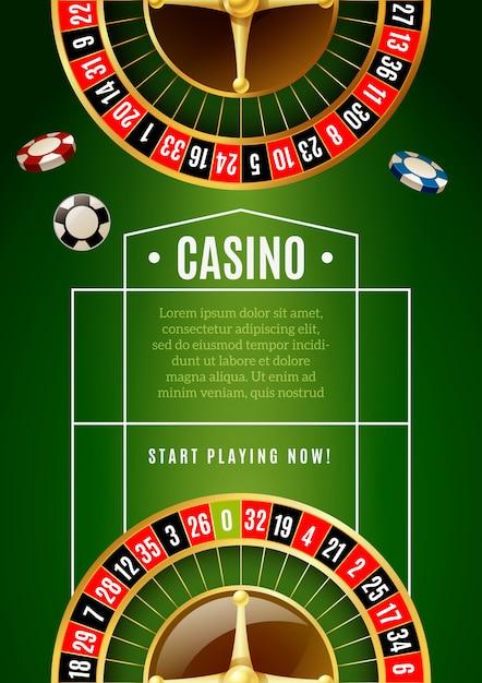 Affiche de publicité de jeu de casino classique de roulette Vecteur gratuit