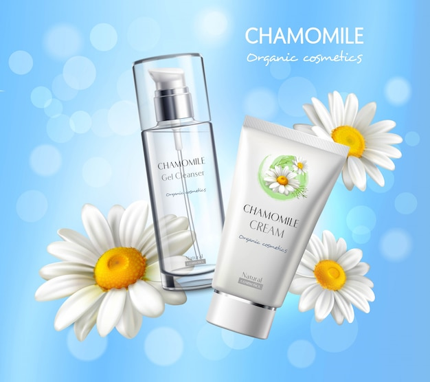 Affiche de publicité réaliste de produits de cosmétiques Vecteur gratuit