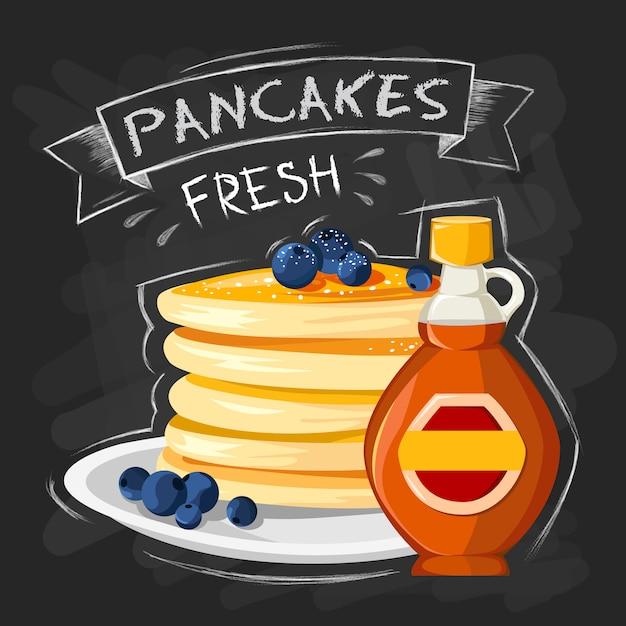 Affiche de publicité de style petit déjeuner restaurant avec des crêpes poêle à frire Vecteur gratuit