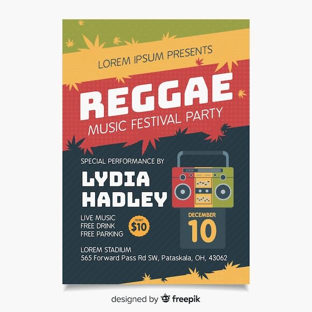 Affiche radio reggae Vecteur gratuit