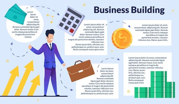 Affiche rapide, immeuble d'affaires avec inscription Vecteur Premium