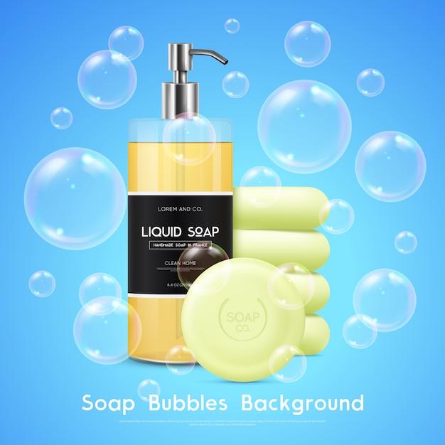 Affiche réaliste de fond de bulles de savon Vecteur gratuit