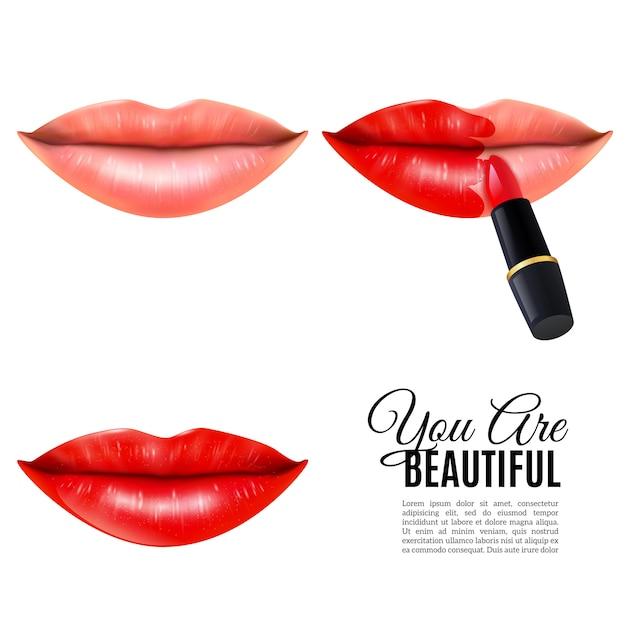 Affiche réaliste de maquillage lèvres de beauté Vecteur gratuit