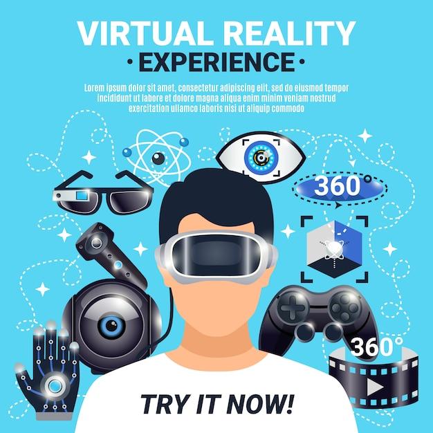 Affiche de réalité virtuelle Vecteur gratuit