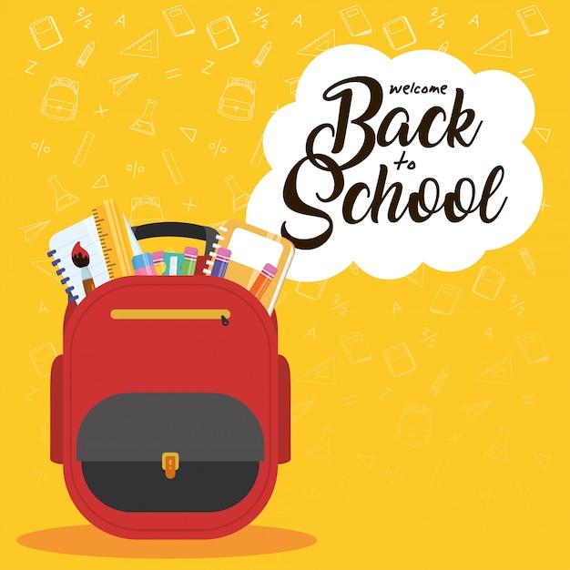 Affiche De Retour à L & # 39; école Avec Cartable Et Fournitures Vecteur Premium
