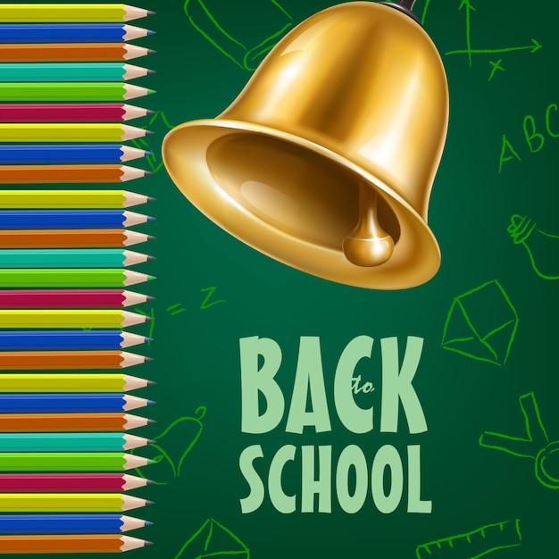 Affiche de retour à l'école avec clochette, crayons de couleur Vecteur gratuit