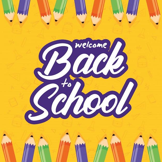 Affiche De Retour à L & # 39; école Avec Des Crayons De Couleur Vecteur Premium