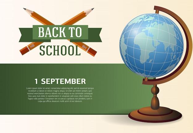 Affiche de retour à l'école avec des crayons croisés Vecteur gratuit