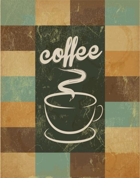 Affiche r tro avec tasse de caf la main dessin e - Tasse a cafe avec support ...
