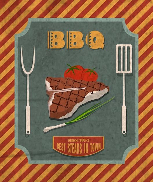 Affiche rétro barbecue Vecteur gratuit