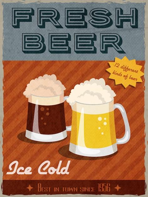 Affiche rétro bière Vecteur gratuit