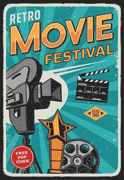 Affiche Rétro Du Festival Du Film Et Du Cinéma Vecteur Premium
