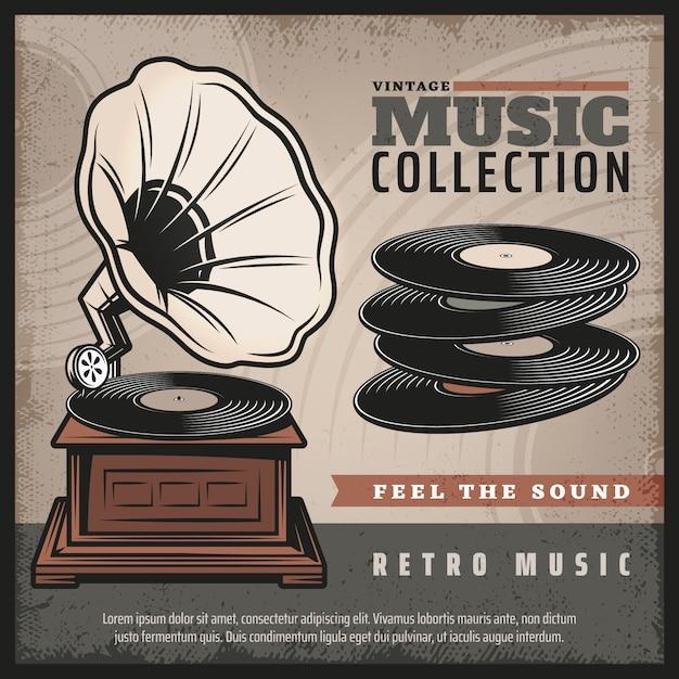 Affiche Rétro Gramophone Colorée Avec Platine Vinyle Ou Phonographe Et Disques Vinyles De Style Vintage Vecteur Premium