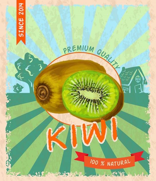 Affiche rétro kiwi Vecteur Premium