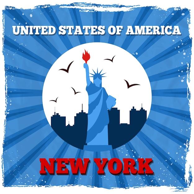 Affiche rétro de new york usa Vecteur gratuit