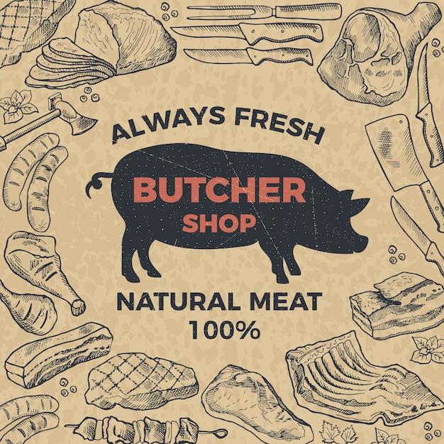 Affiche Rétro Pour Boucherie. Illustration Dessinée à La Main. Boucherie Et Marché Avec Viande Naturelle Vecteur Premium