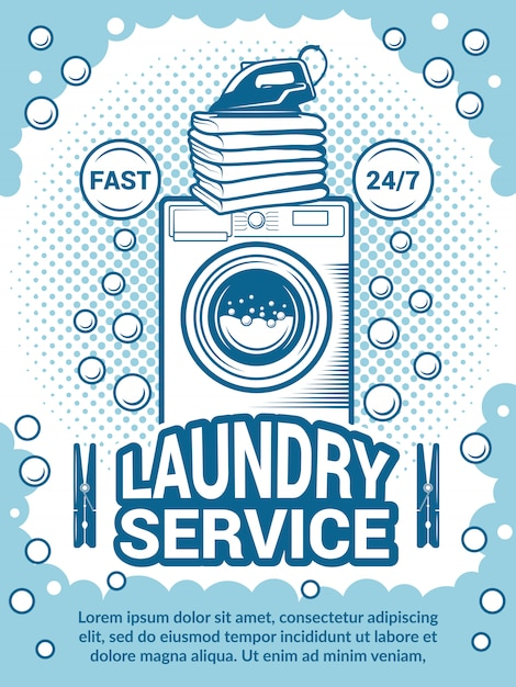 Affiche rétro pour le nettoyage à sec. modèle de conception d'annonce avec la place pour votre texte Vecteur Premium