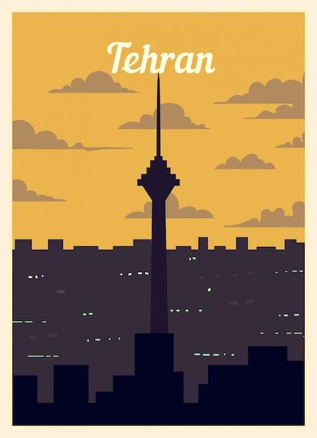 Affiche Rétro Sur Les Toits De La Ville De Téhéran. Vecteur Premium