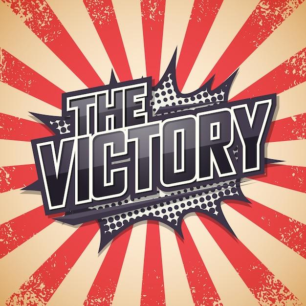 Affiche rétro, la victoire. Vecteur Premium