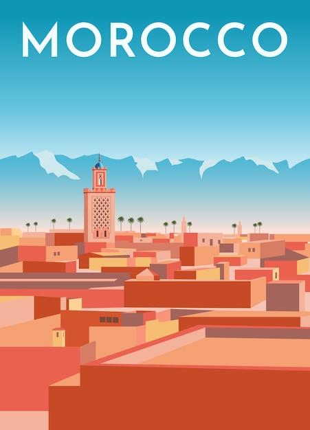 Affiche Rétro De Voyage Maroc, Bannière Vintage. Panorama De La Ville De Marrakech Avec Maisons, Mosquée, Montagnes. Vecteur Premium