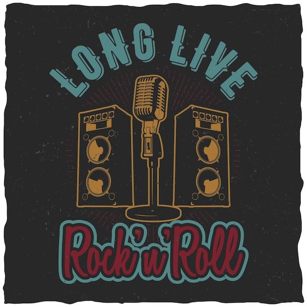 Affiche Rock'n'roll Avec Des Mots Vive Le Rock'n'roll Pour Concevoir Un T-shirt Vecteur gratuit
